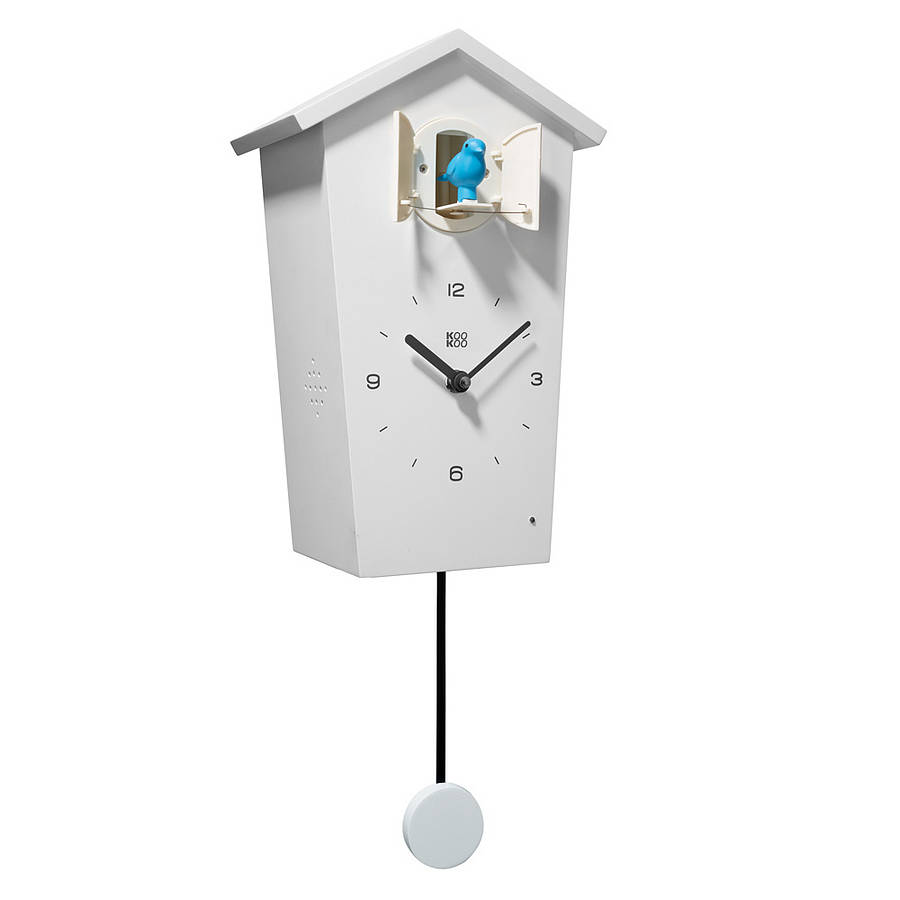 charming cuckoo clock in white with black hands for home accessories ideas