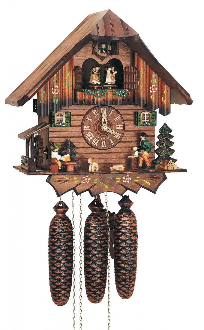 Charming Cuckoo Clock Made Of Wood In Brown With Dog Ornament For Home Accessories Ideas