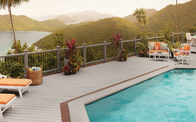 Charming Decking IN GRAVEL PATH With Railing In Gravel Path Plus Swimming Pool For Expensive Trex Decking Cost Ideas