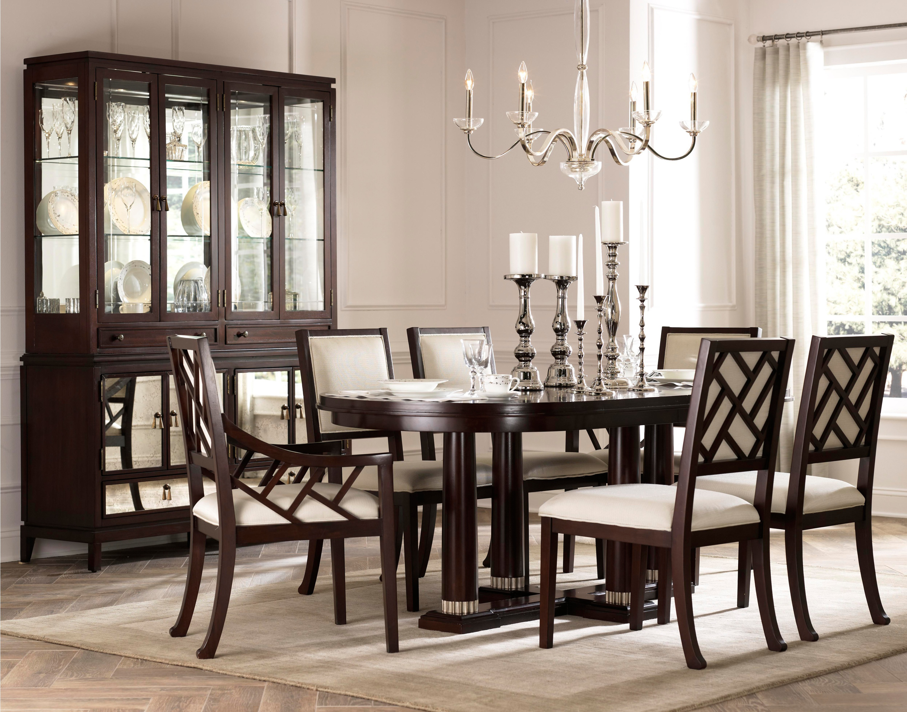 charming dining chairs in brown wooden with white seat and wooden dining table by broyhill furniture on white rug for dining room decor ideas