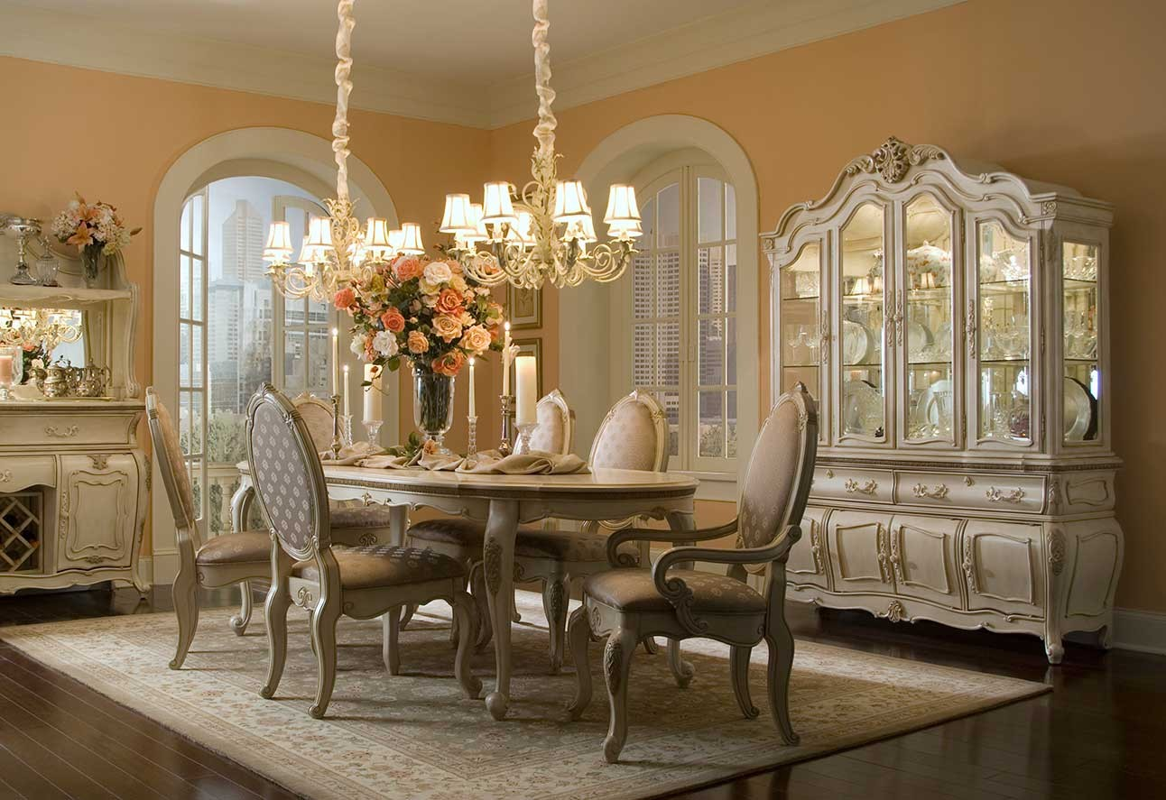 charming dining table set with chair set in six by aico furniture under the chandelier for dining room decor ideas