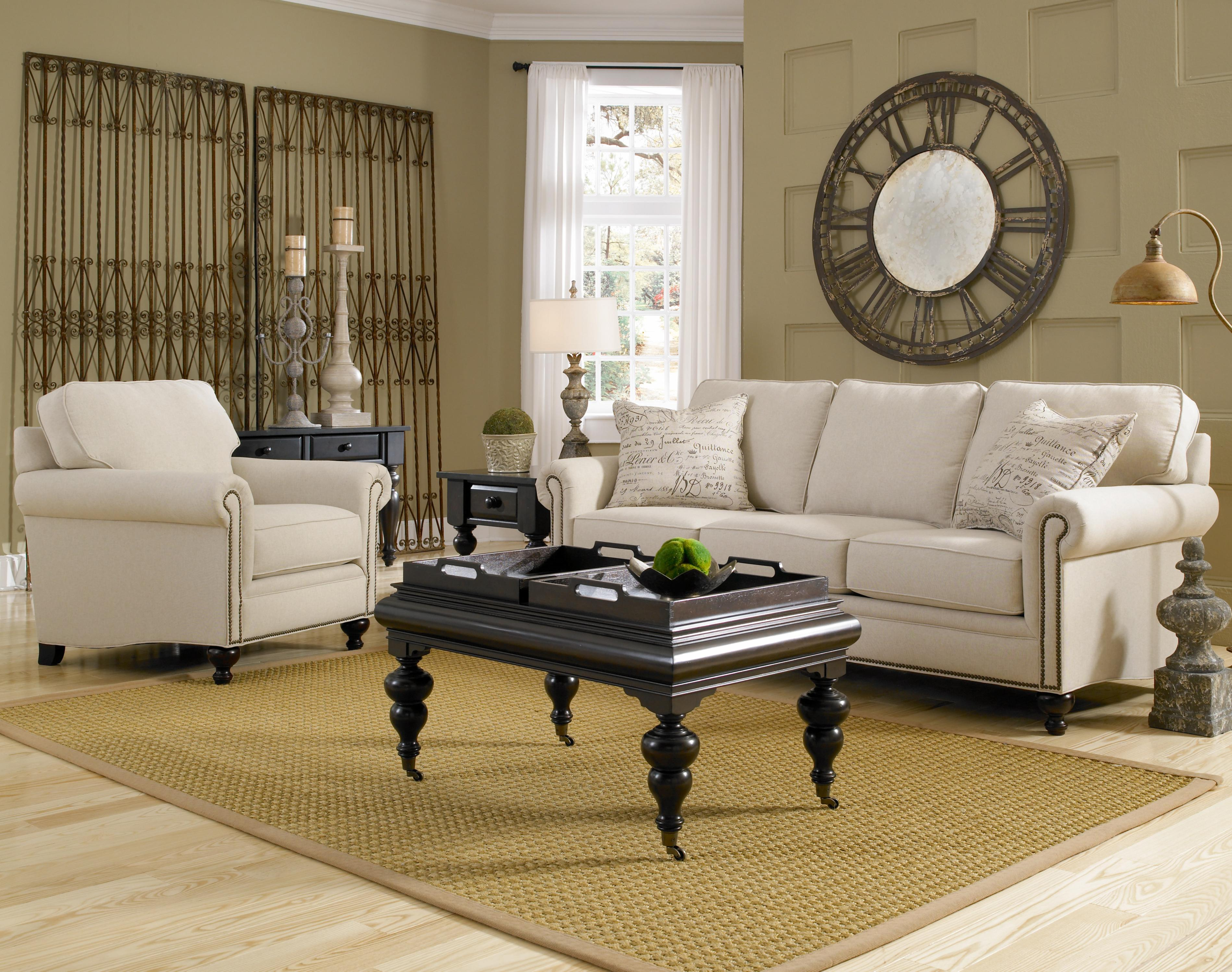 Charming Fabric White Sofa And Black Table With Tray By Broyhill Furniture On Wooden Floor With Rug For Living Room Decor Ideas