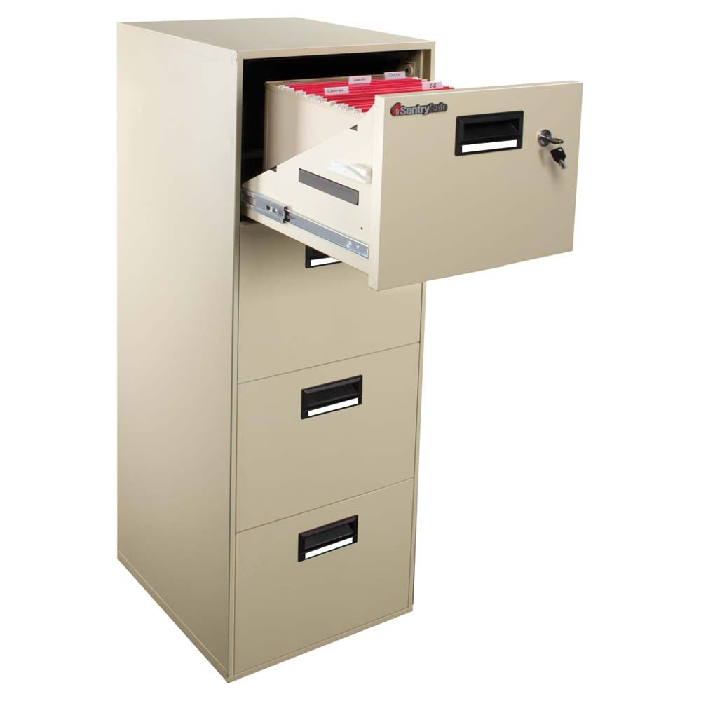 charming fireproof file cabinet in four drawers with black handle for home office furniture ideas