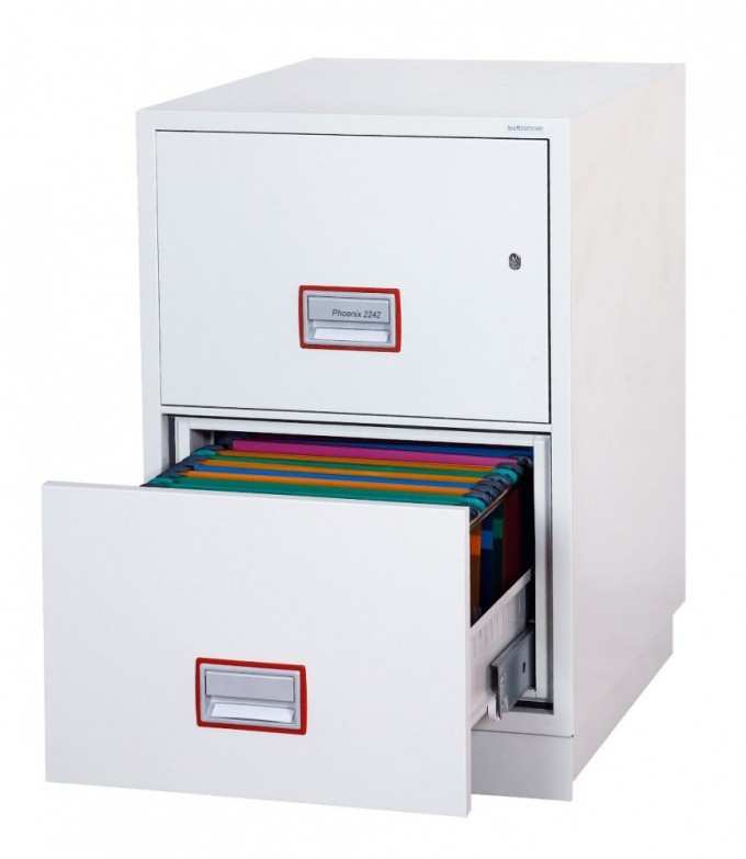 Charming Fireproof File Cabinet In White With Double Drawers Design For Home Office Furniture Ideas