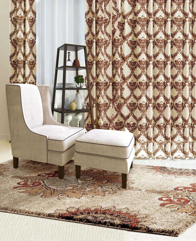 Charming Floral Rug By Orian Rugs On Wooden Floor Plus White Single Chair And Matching Ottoman For Living Room Decor Ideas