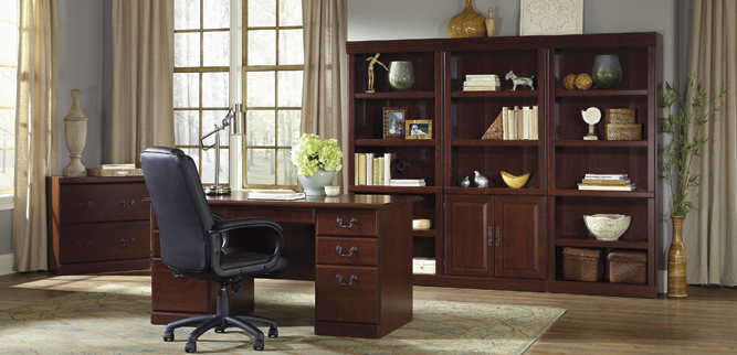 charming home office decor with wooden desk and wooden cabinet by sauder furniture on wooden floor with rug ideas