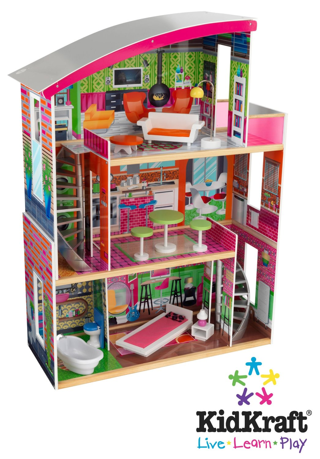 Charming Kidkraft Dollhouse In Colorful Design With Triple Tier Design For Nursery Decor Ideas