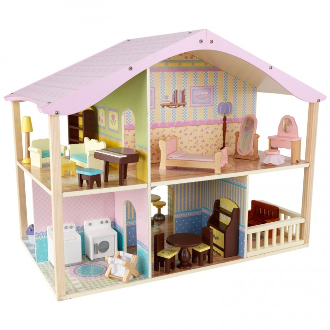 Charming Kidkraft Dollhouse In Soft Pink And Cream Theme Made Of Wood With Five Room And Double Floor For Nursery Decor Ideas