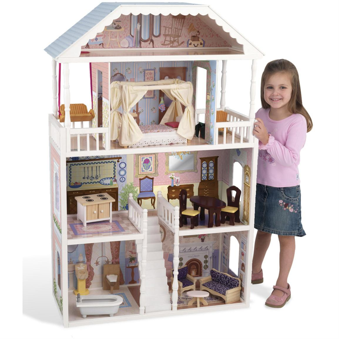charming kidkraft dollhouse in triple tier design and white theme with blue roof for nursery decor ideas