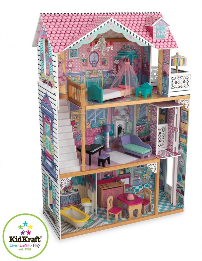 Charming Kidkraft Dollhouse In Triple Tier Design With Pink Roof For Nursery Decor Ideas