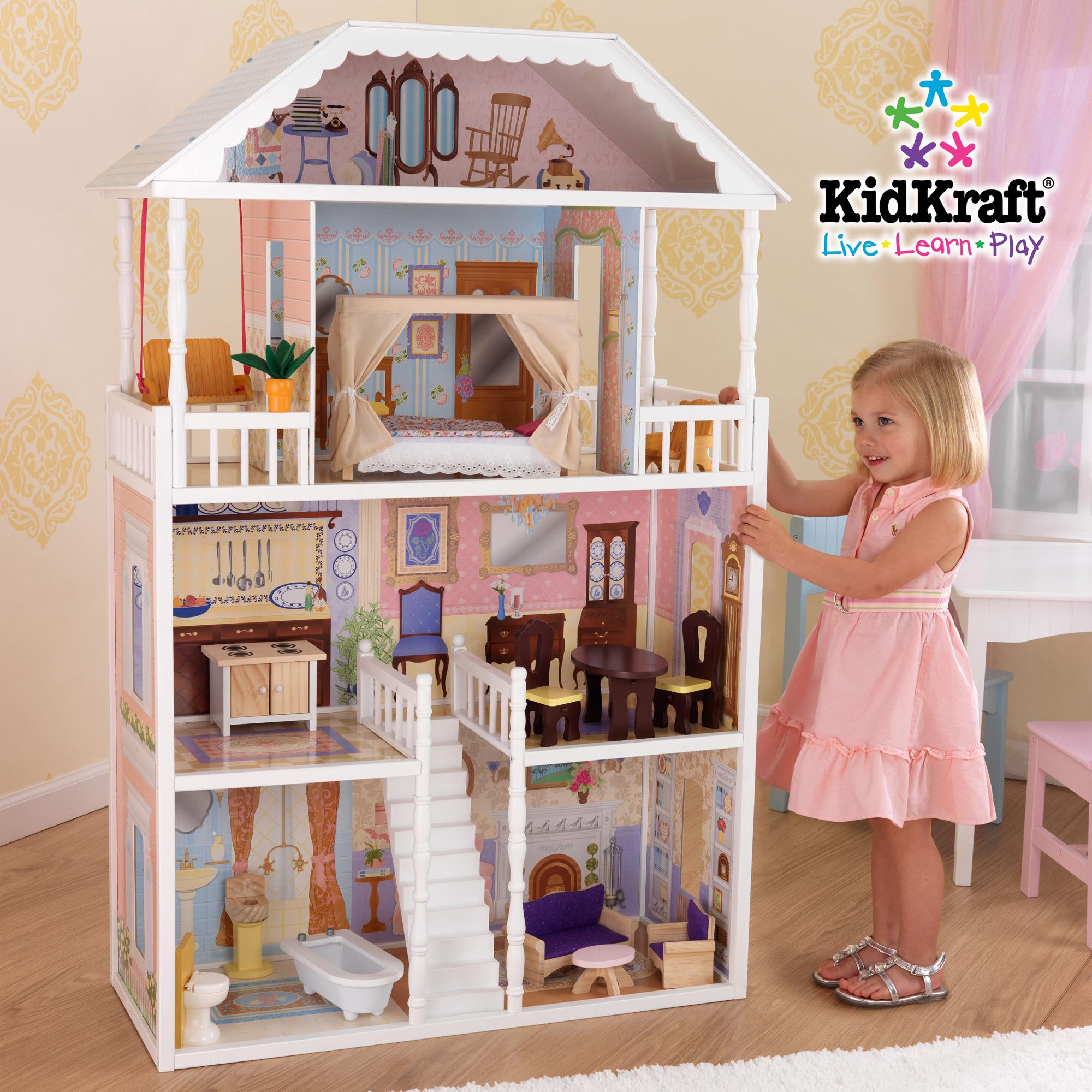 Charming Kidkraft Dollhouse In White Theme Made Of Wood With Four Tier Design On Wooden Floor Which Matched With Cream Wallpaper For Nursery Decor Ideas