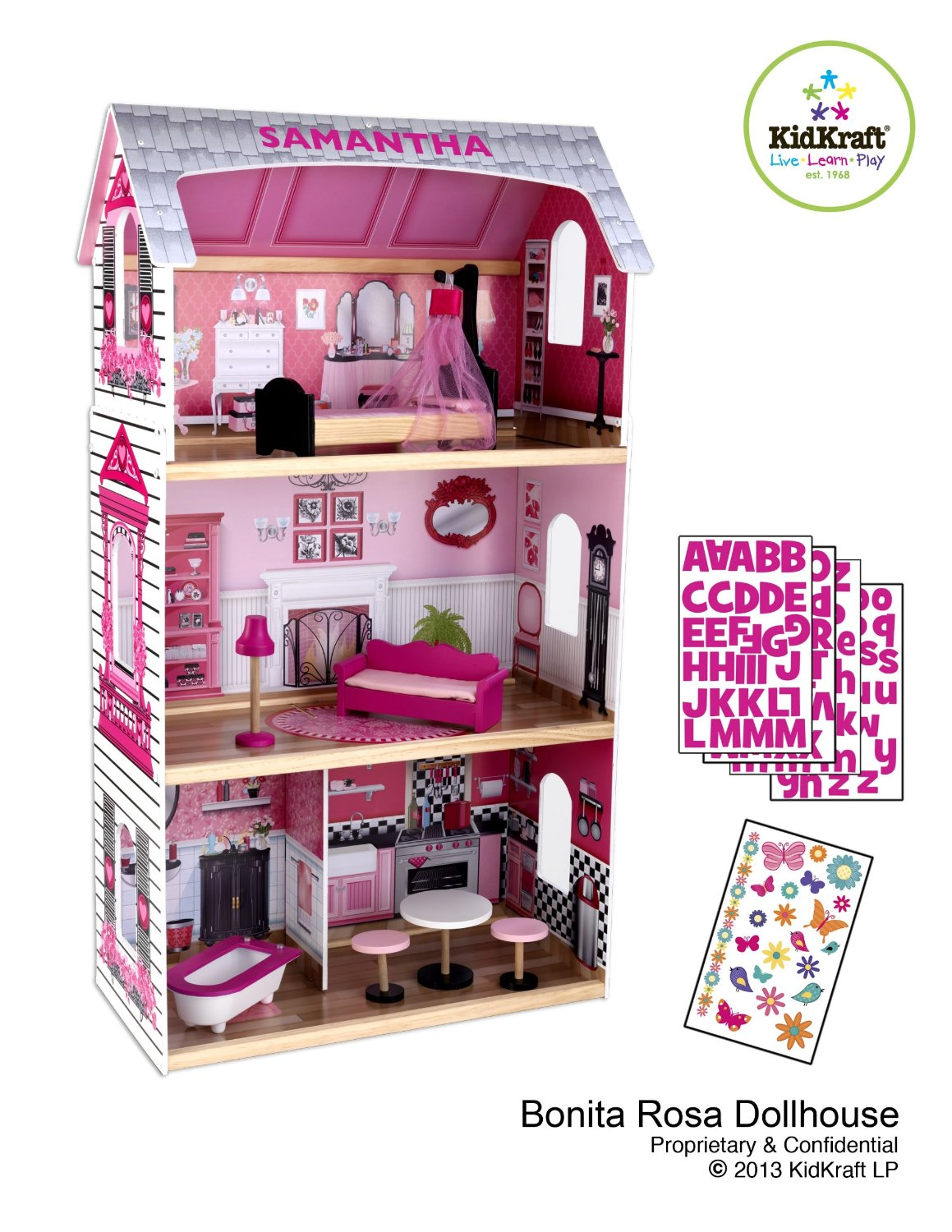 Charming Kidkraft Dollhouse Made Of Wood In Pink Theme With Triple Tier Design For Nursery Decor Ideas