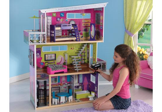 charming kidkraft dollhouse made of wood in triple tier design for nursery decor ideas