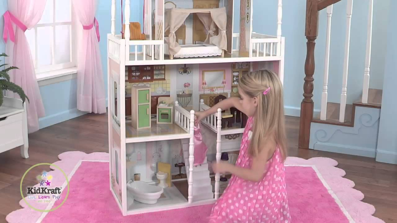 Charming Kidkraft Dollhouse Made Of Wood In Triple Tier Design N Wooden Floor With Pink Rug Which Matched With Pink Curtain On Blue Wall For Nursery Decor Ideas