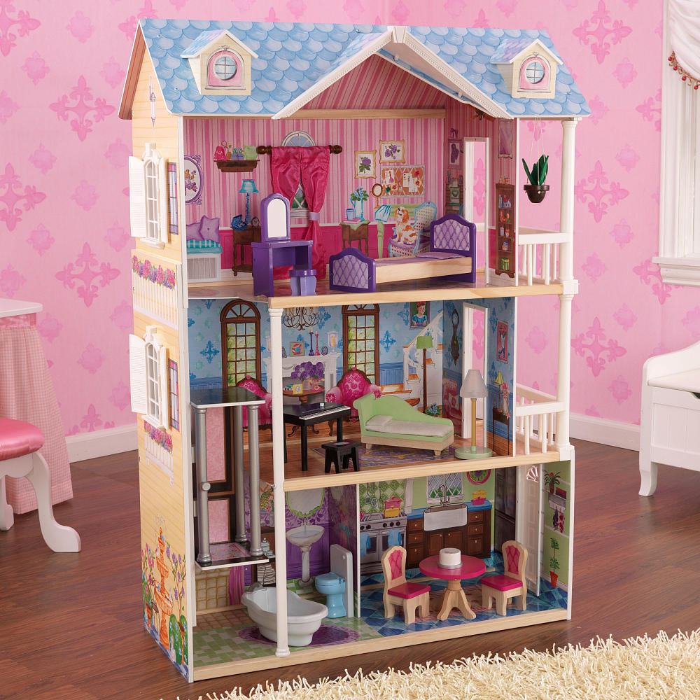 charming kidkraft dollhouse made of wood with blue roof and triple tier design on wooden floor which matched with pink wallpaper for nursery decor ideas