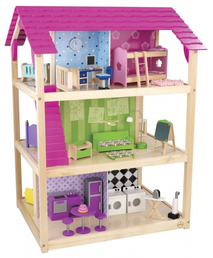 Charming Kidkraft Dollhouse Made Of Wood With Pink Roof And Triple Floor Design For Nursery Decor Ideas