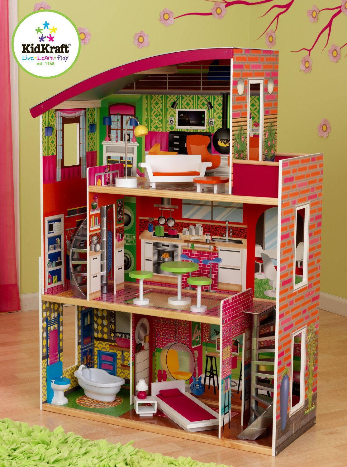 Charming Kidkraft Majestic Mansion Dollhouse 65252 Made Of Wood In Colorful Theme For Kids Play Room Furniture Ideas