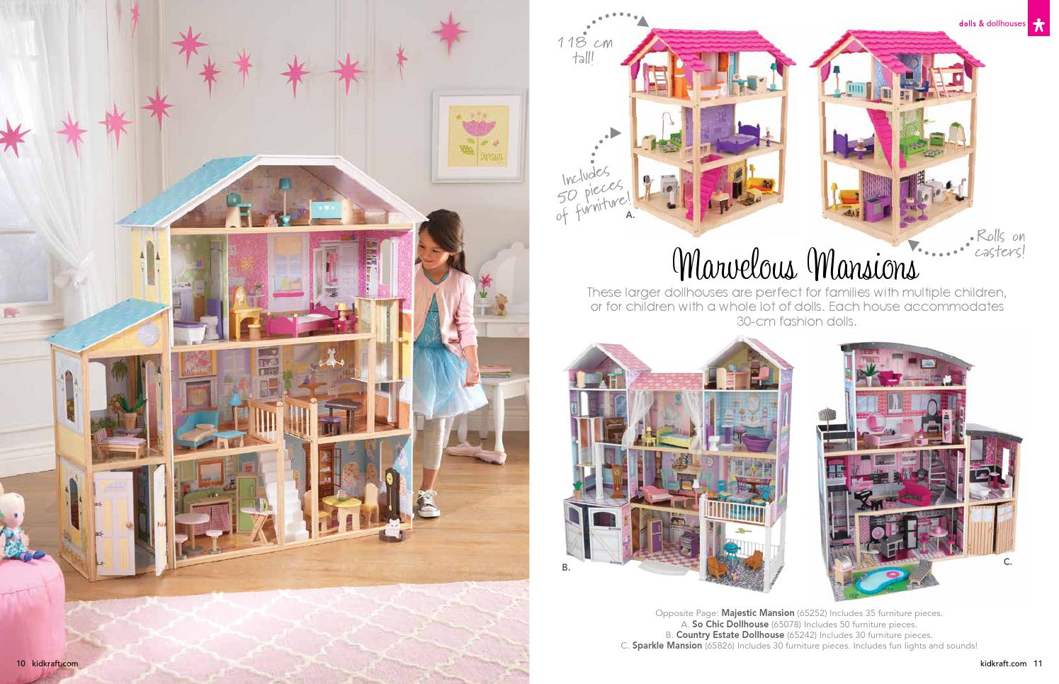 Charming Kidkraft Majestic Mansion Dollhouse 65252 Made Of Wood In Four Tier Design For Kids Play Room Furniture Ideas