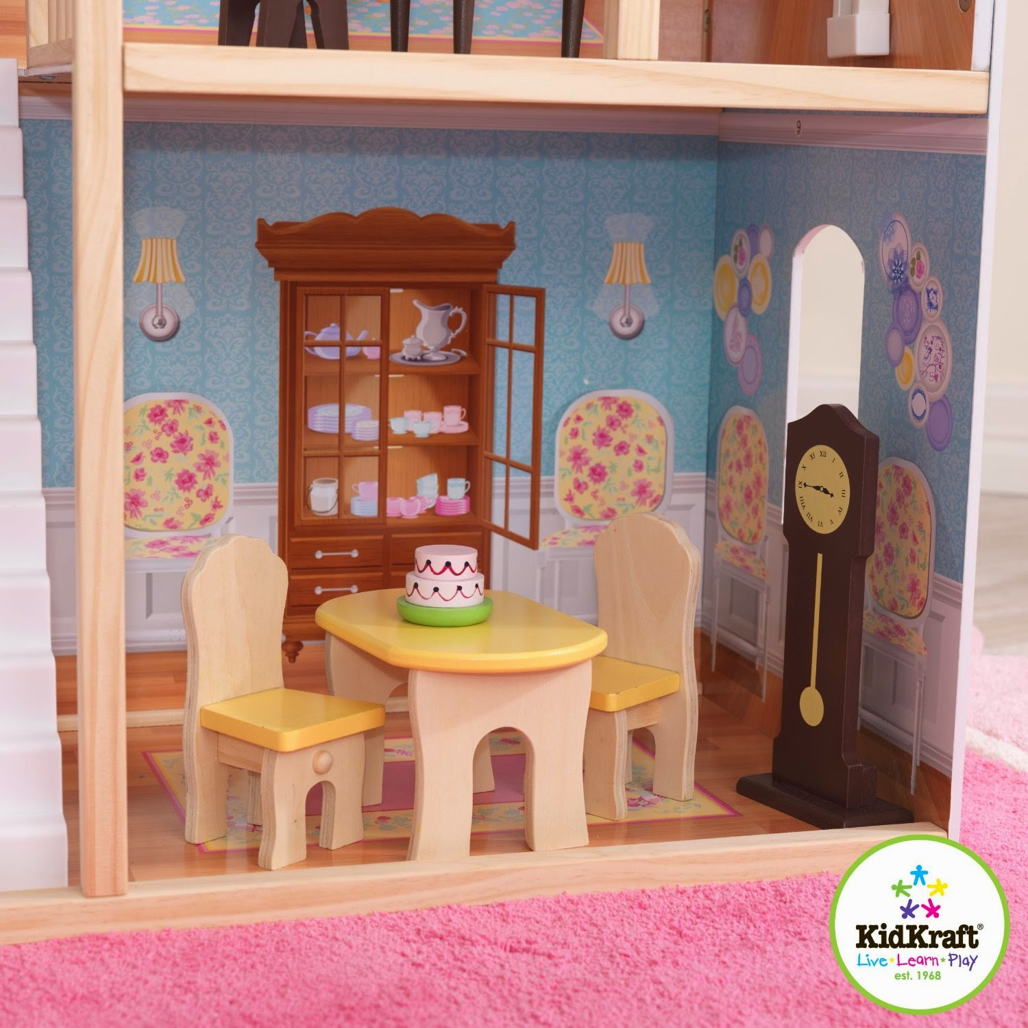 charming kidkraft majestic mansion dollhouse 65252 made of wood with pink rug for kids play room decor ideas