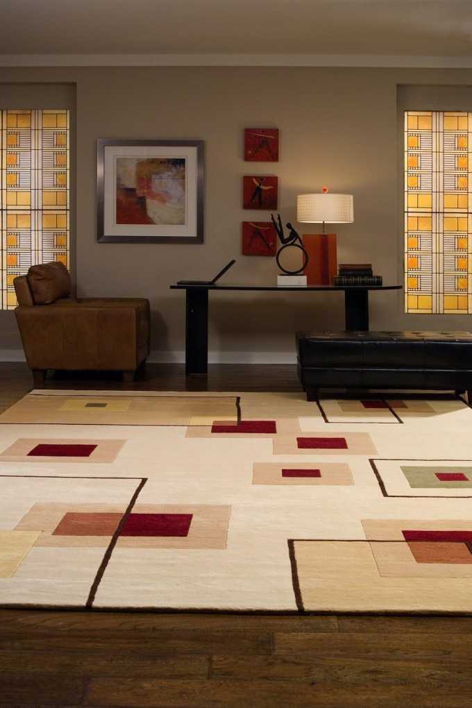 Charming Large Momeni Rugs With Checked Pattern On Wooden F;ppr Plus Black Table And Brown Chair For Living Room Decor Ideas
