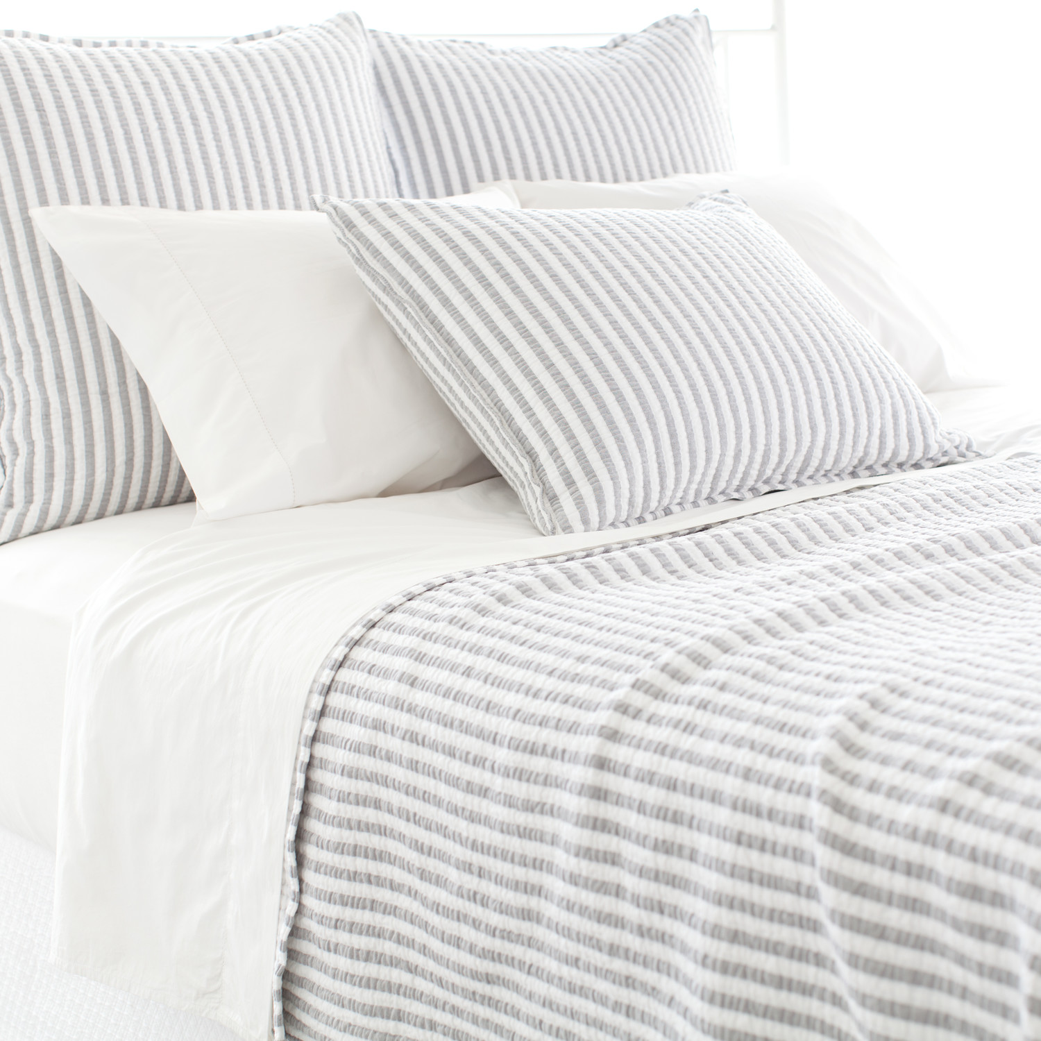 Charming Linen Pine Cone Hill Bedding In Blue White Stripped Pattern For Bed Ideas