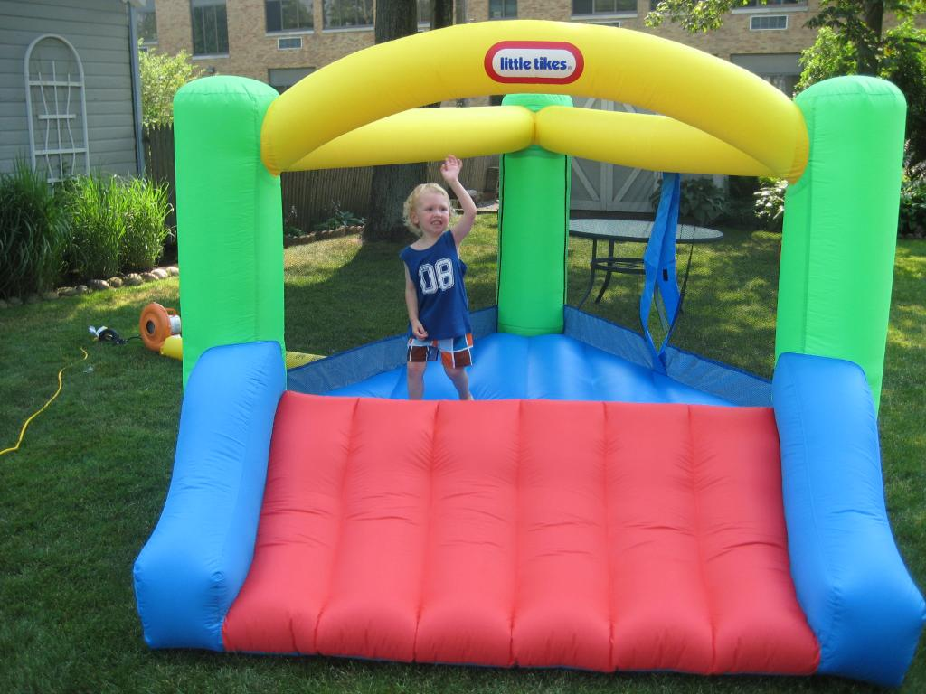 Charming Little Tikes Bounce House Made Of Caoutchouc In Yellow Green Blue Red With Slide For Play Yard Ideas