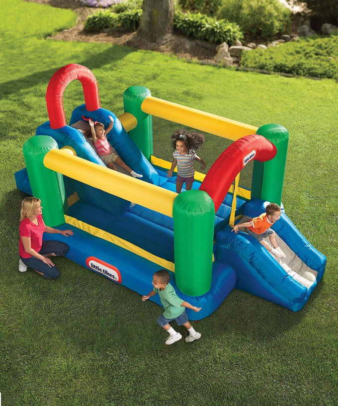 Charming Little Tikes Bounce House Made Of Caoutchouc With Double Slide For Play Yard Ideas