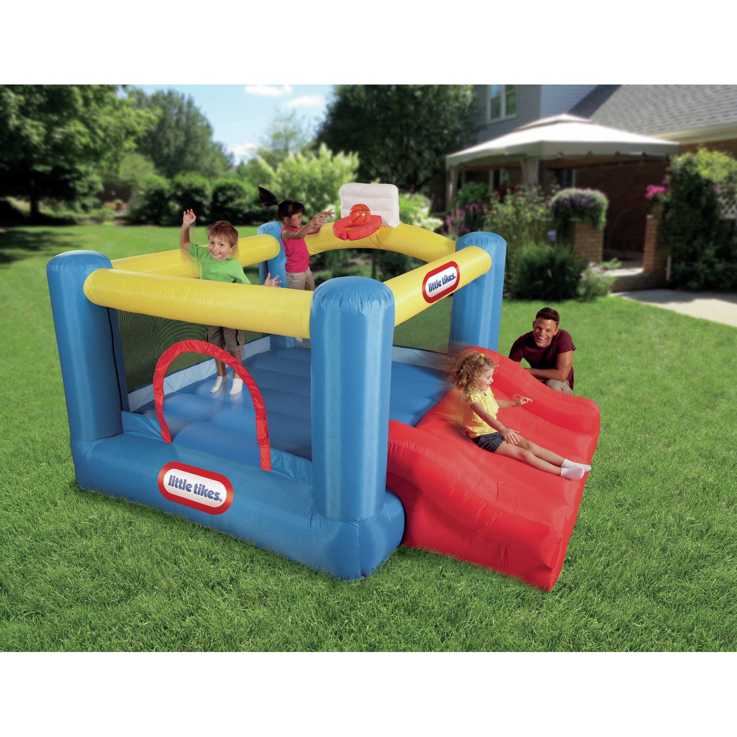 Fancy Little Tikes Bounce House For Play Yard Ideas: Charming Little Tikes Bounce House Made Of Caoutchouc With Red Jump Slide For Play Yard Ideas