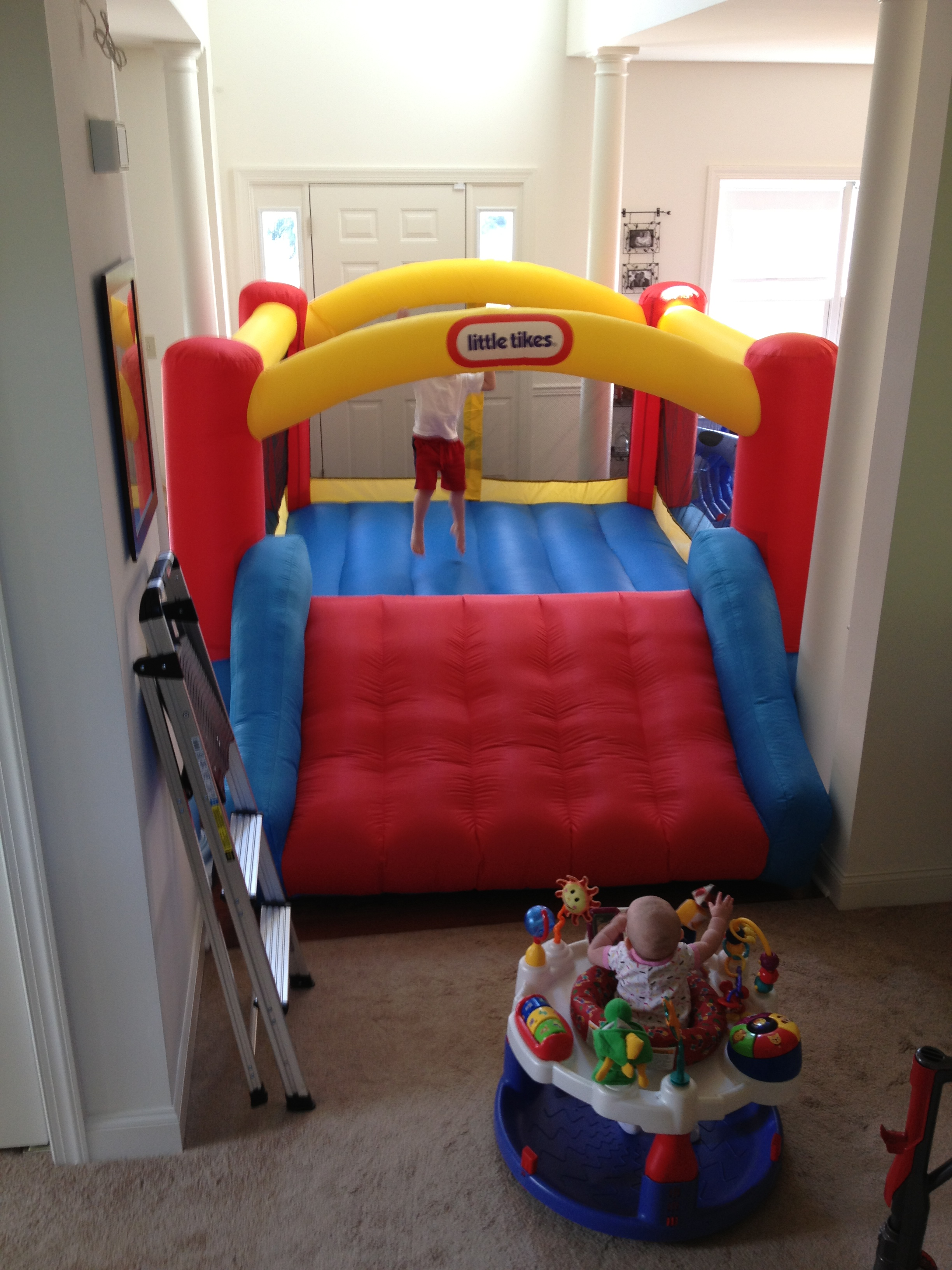 Charming Little Tikes Bounce House Made Of Caoutchouc With Slide For Kids Play Room Ideas