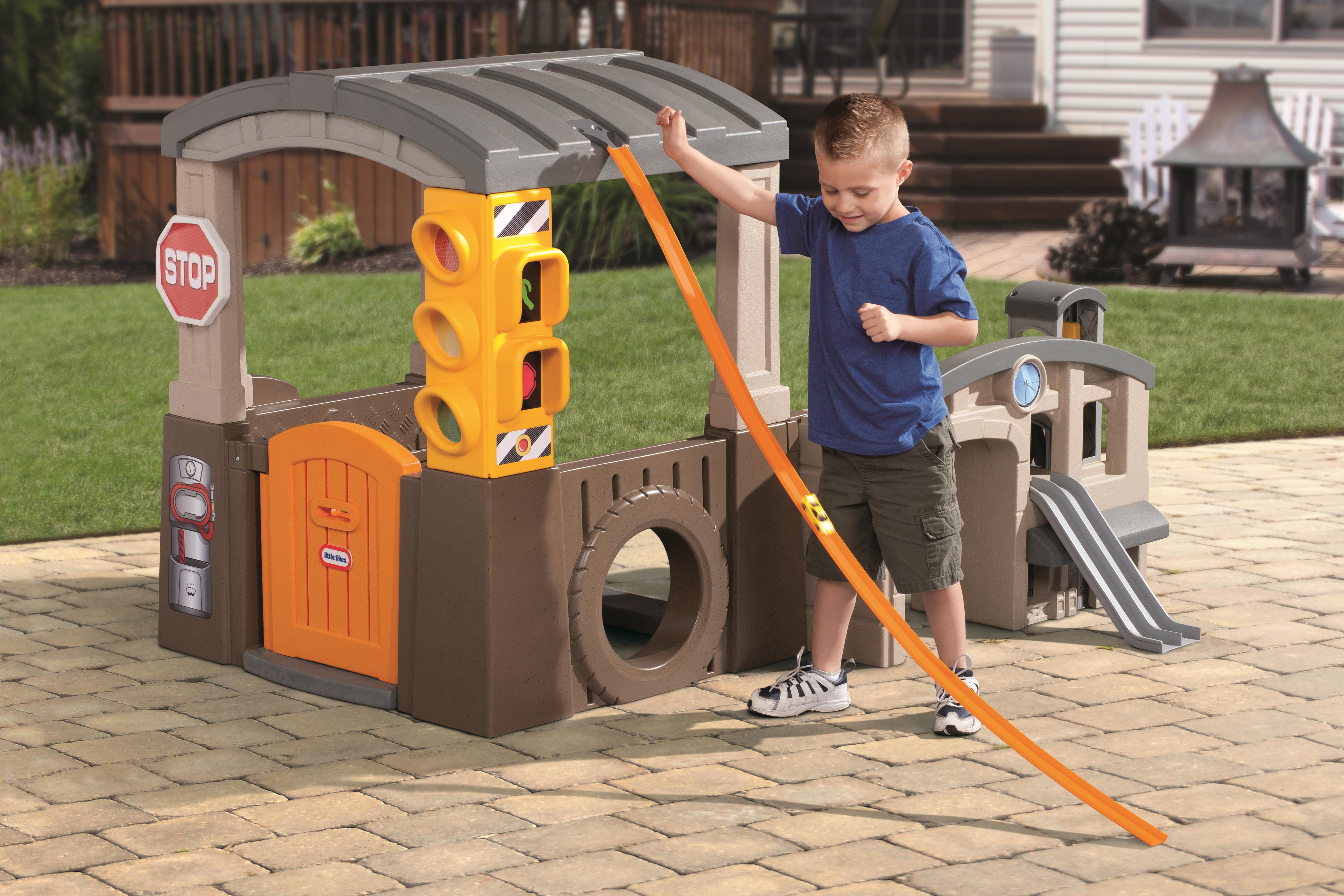 charming little tikes playhouse in gray and orange theme with mini race for awesome playground ideas