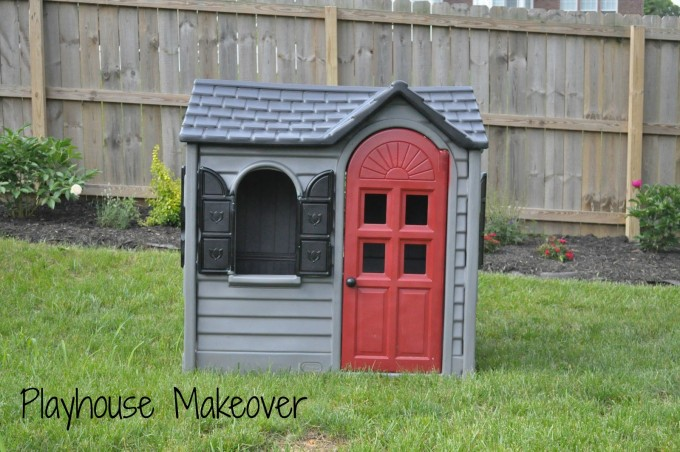 Charming Little Tikes Playhouse In Gray With Red Door On Green Grass For Awesome Playground Ideas