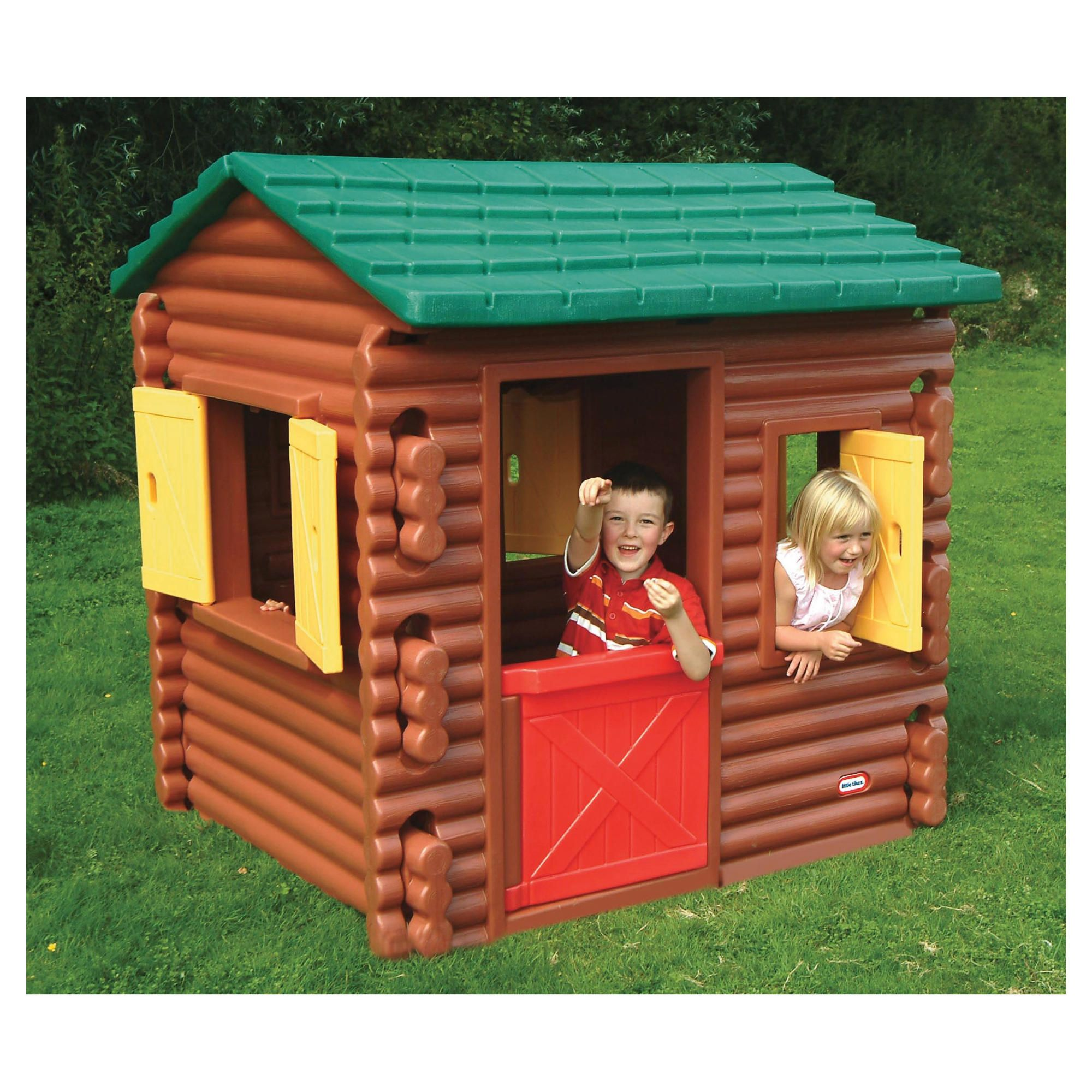 charming little tikes playhouse made of plastic with brown siding and green roof for playground decor ideas