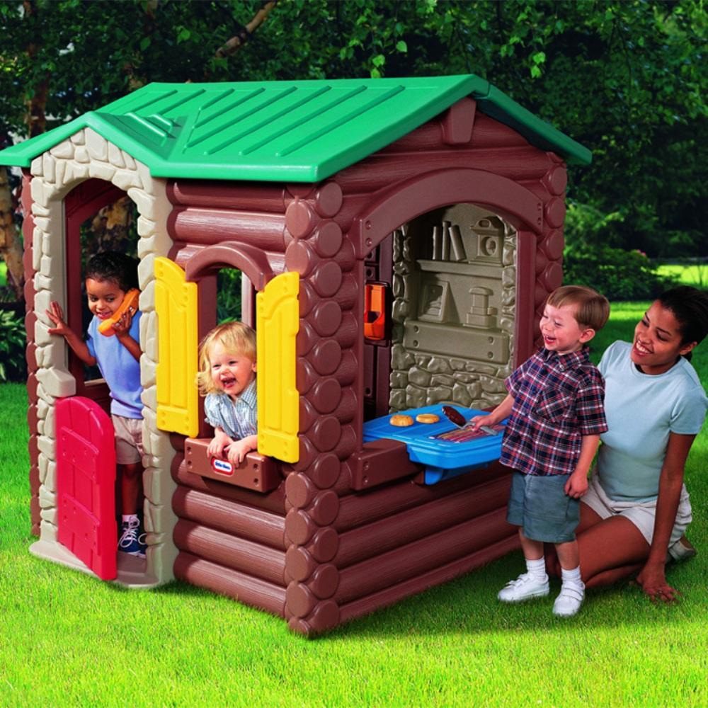 Charming Little Tikes Playhouse Made Of Plastic With Green Roof And Brown Siding For Playground Decor Ideas