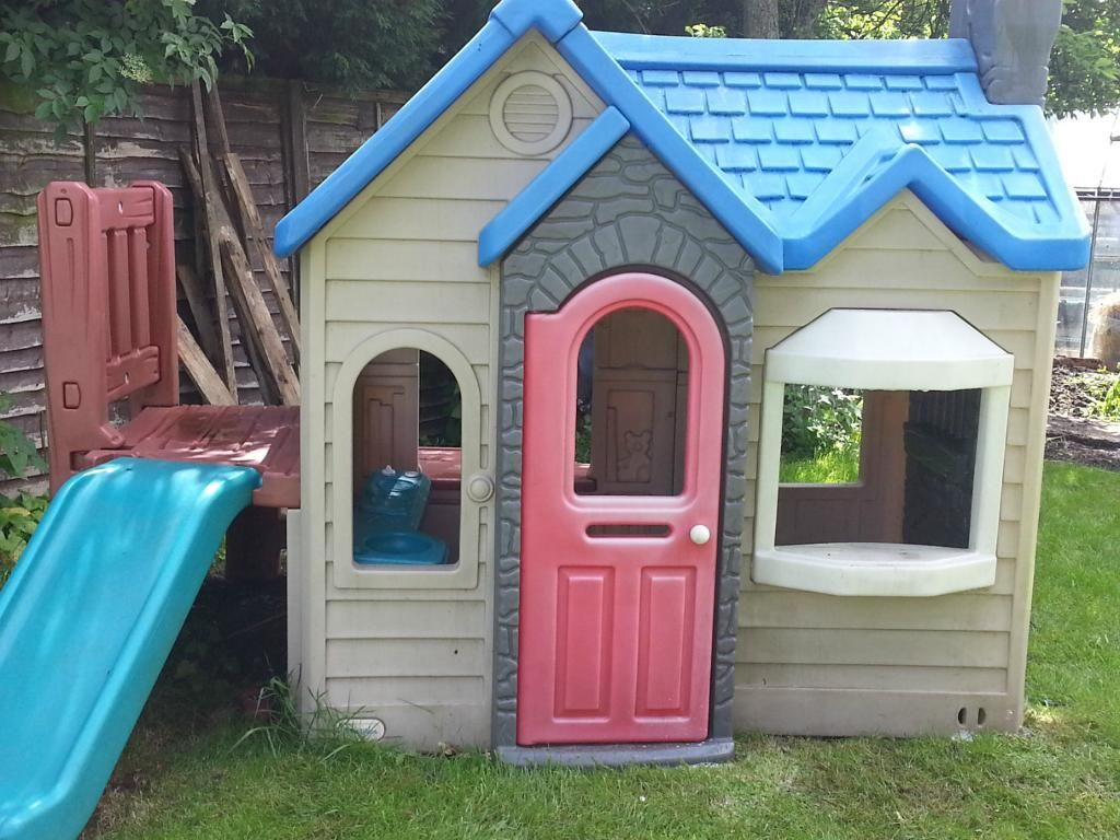 Charming Little Tikes Playhouse With Blue Slide And Blue Roof For Playground Decor Ideas