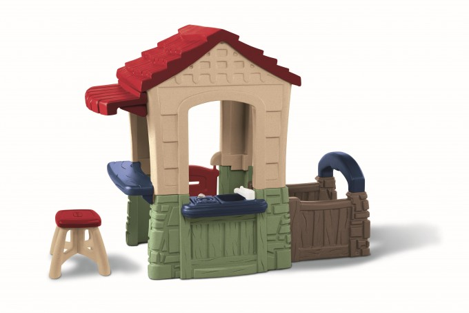 Charming Little Tikes Playhouse With Red Roof Made Of Plastic For Awesome Playground Decor Ideas