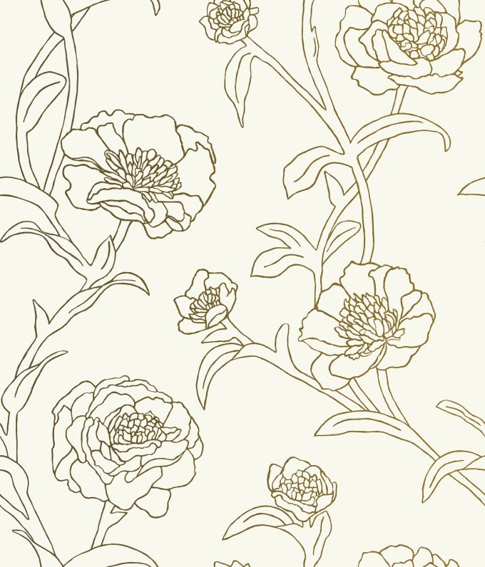 Charming Peonies Temporary Wallpaper Gold Leaf By Tempaper Wallpaper For Wall Decor Ideas