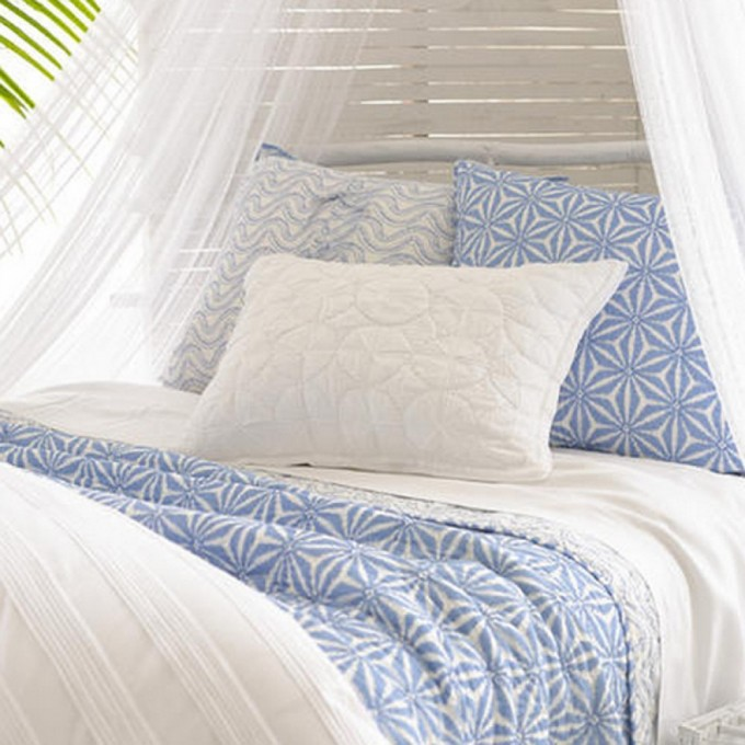 Charming Pine Cone Hill Bedding In Blue White Theme With White Curtain For Lovely Bed Ideas