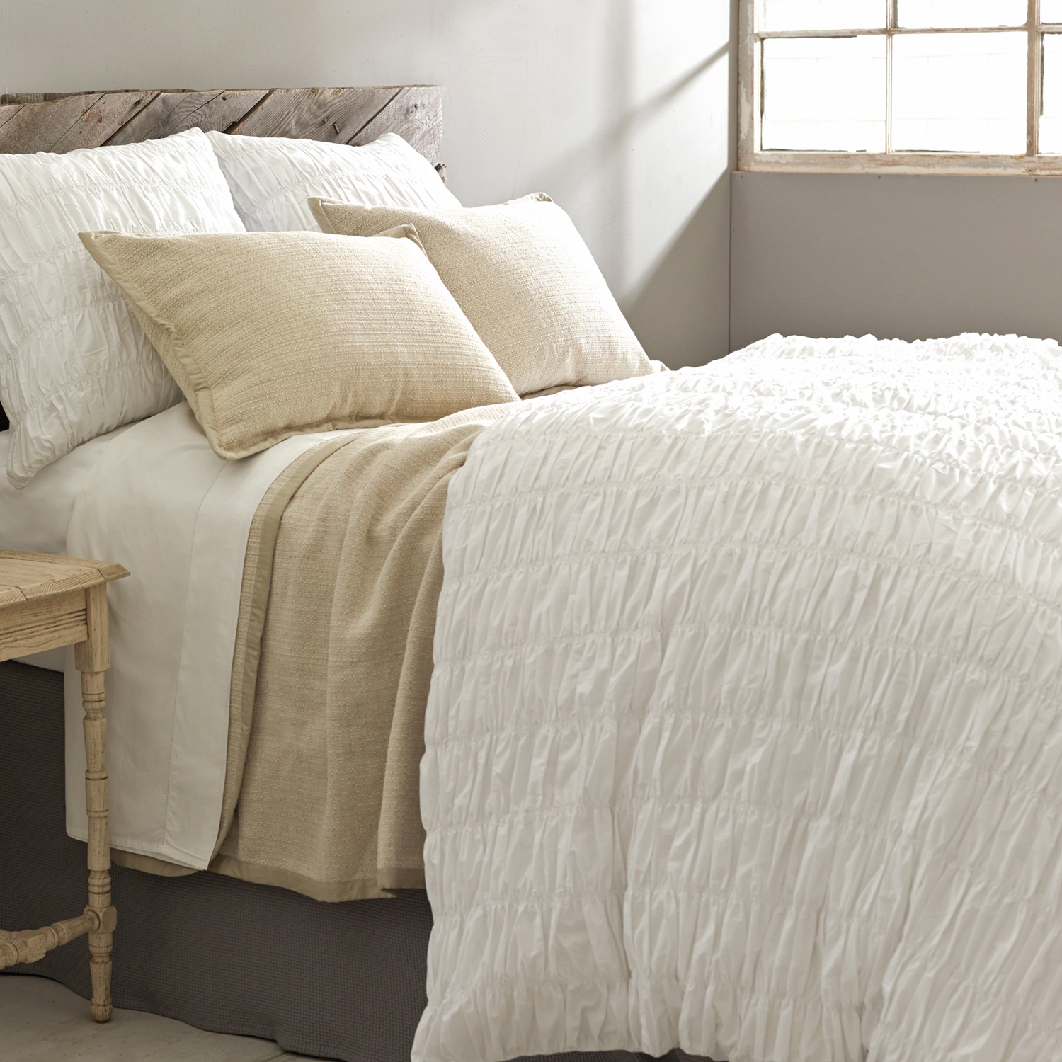 Charming Pine Cone Hill Bedding In White And Beige With Wooden Headboard For Bed Ideas