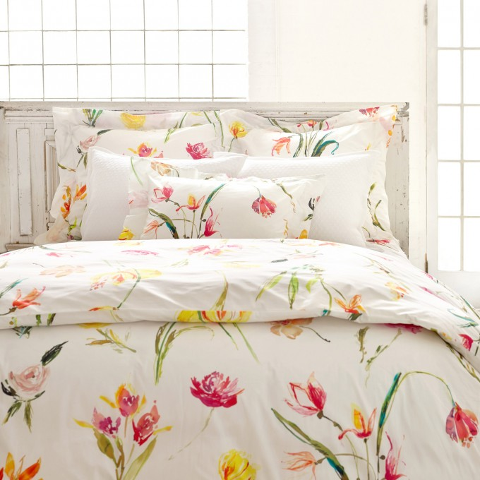Charming Pine Cone Hill Bedding In White With Flower Motif For Lovely Bed Ideas