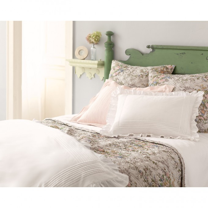 Charming Pine Cone Hill Bedding With Floral Pattern Plus Green Wooden Headboard For Bed Ideas