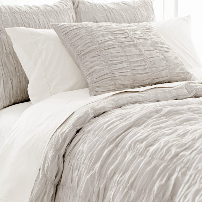 Charming Pine Cone Hill Smocked Cotton Duvet Cover In White And Gray For Bedding Ideas