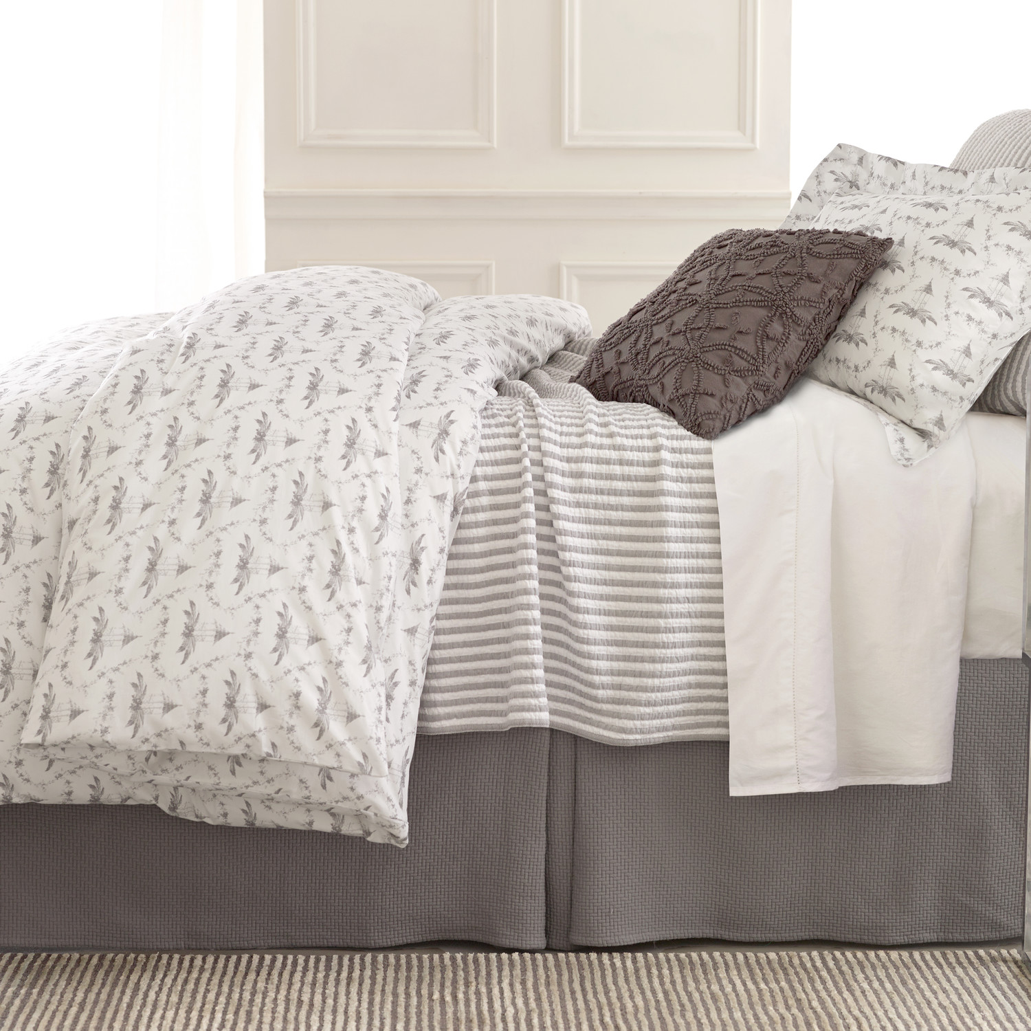 Lovely Pine Cone Hill Bedding For Interesting Bed Ideas: Charming Pine Cone Hill Tiki Toile Duvet Cover In White And Gray For Bed Ideas