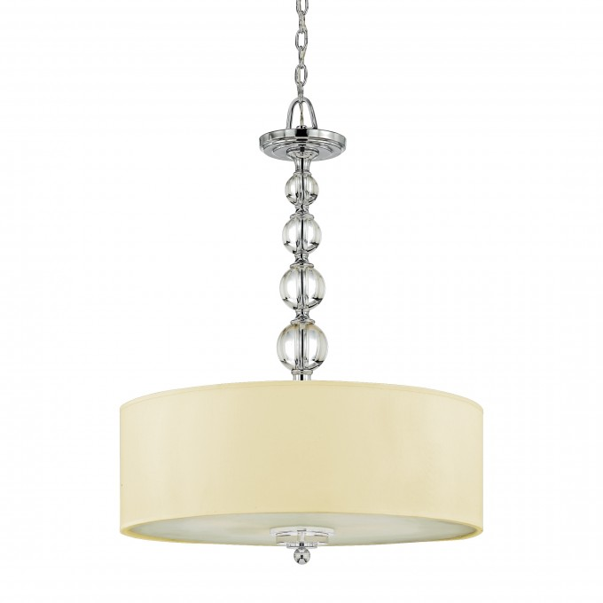Charming Quoizel Pendant With White Shade And Crystal Holder For Home Lighting Ideas