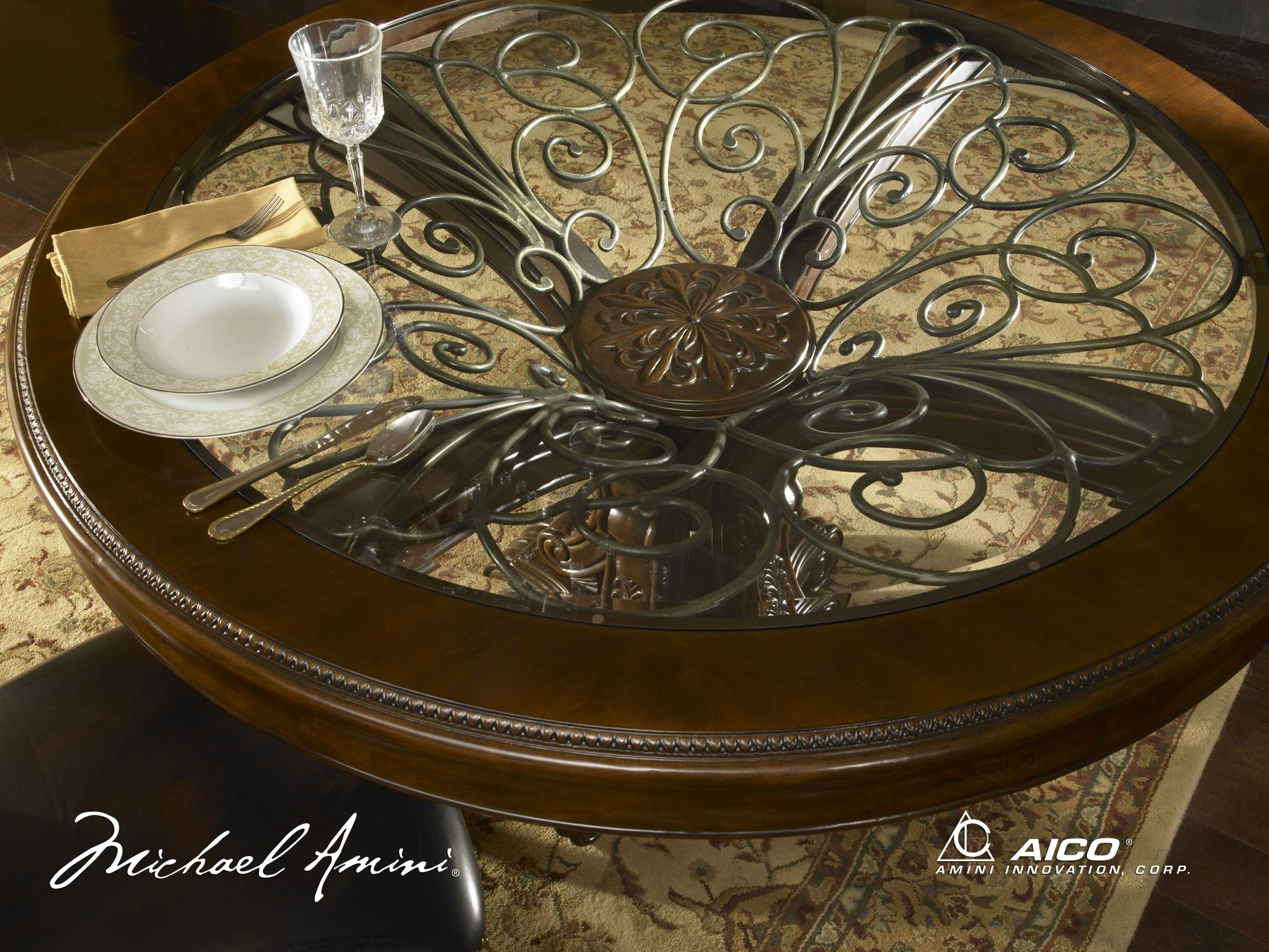 charming round table with floral ornament by aico furniture for living room furniture ideas