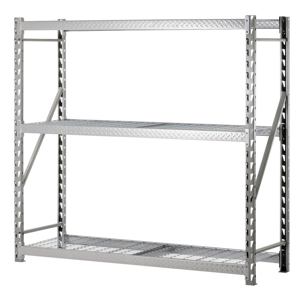 charming silver Edsal Shelving in triple tier design made of steel for garage furniture ideas