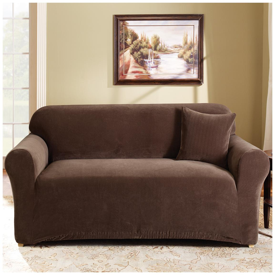 charming sofa with surefit cover in brown on white rug for living room decor ideas
