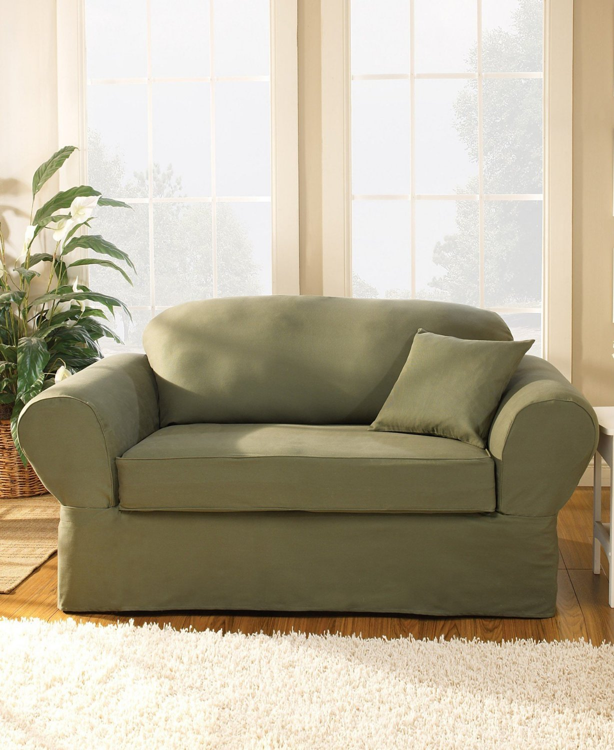 charming sofa with surefit cover in olive on wooden floor for living room decor ideas