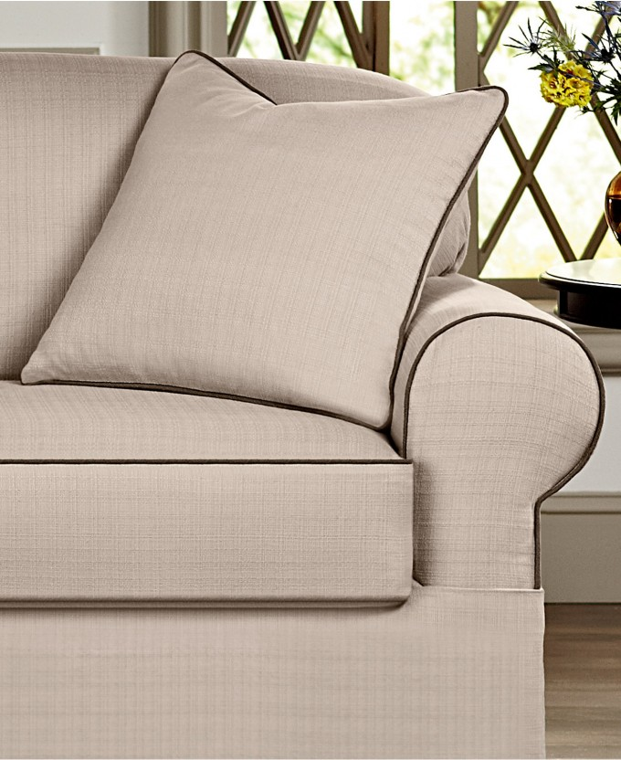 Charming Sofa With Surefit Cover In White For Living Room Decor Ideas