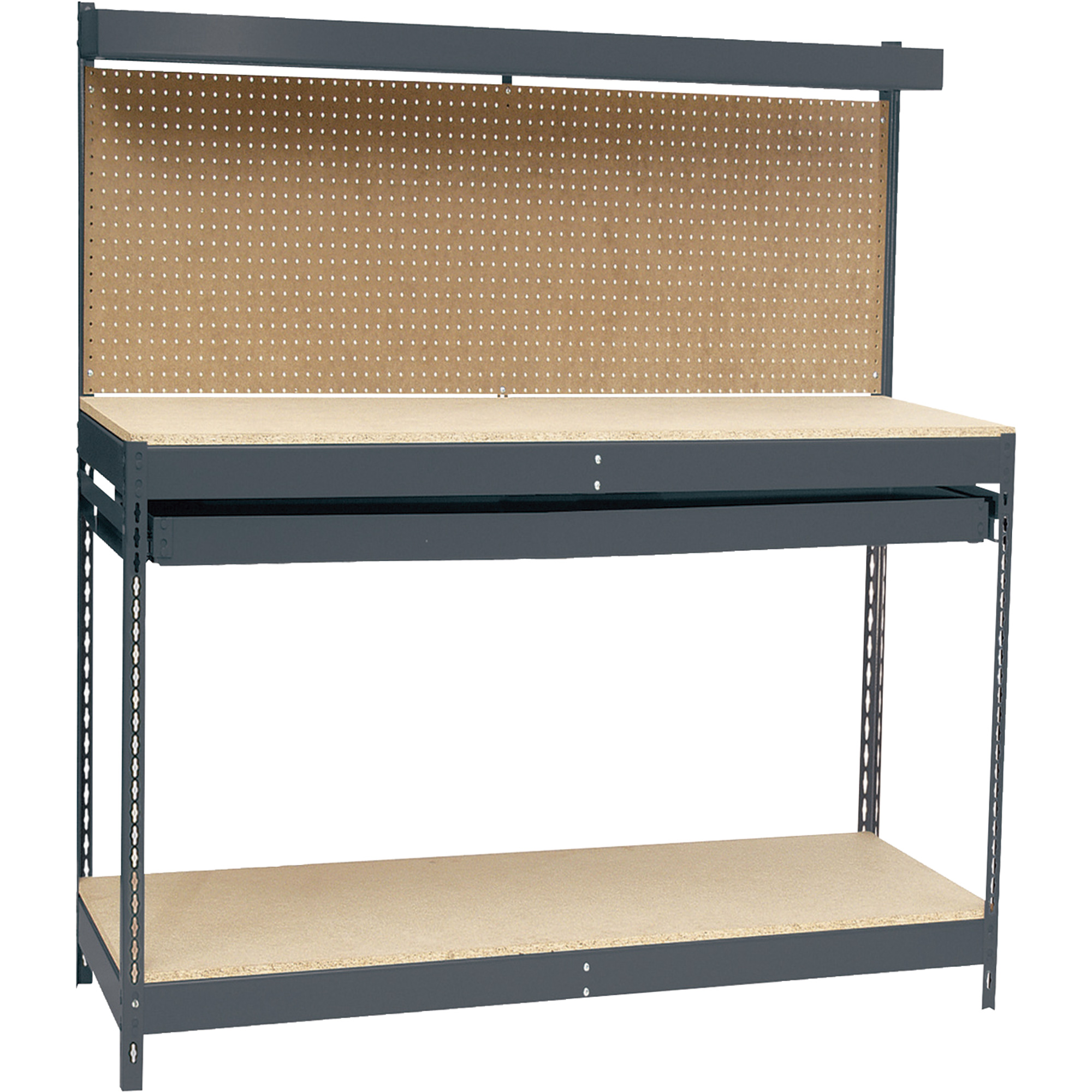 Use Edsal Shelving At Your Garage To Save Your Tools: Charming Steel Edsal Shelving With Hutch For Garage Furniture Ideas