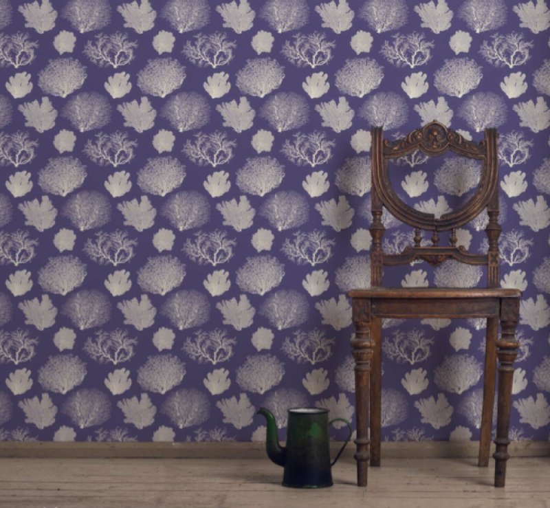 charming tempaper wallpaper in purple matched with wooden floor living room decor ideas